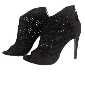 Zara perforated black peep toe booties